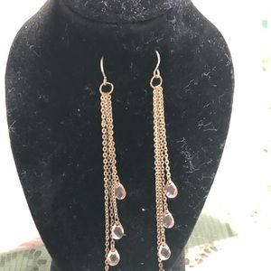 Sterling silver earrings with pink drops cristals